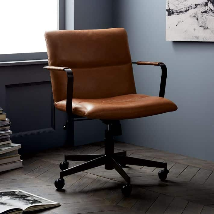 Cooper Mid-Century Leather Swivel Office Chair 3rd wedding anniversary gift