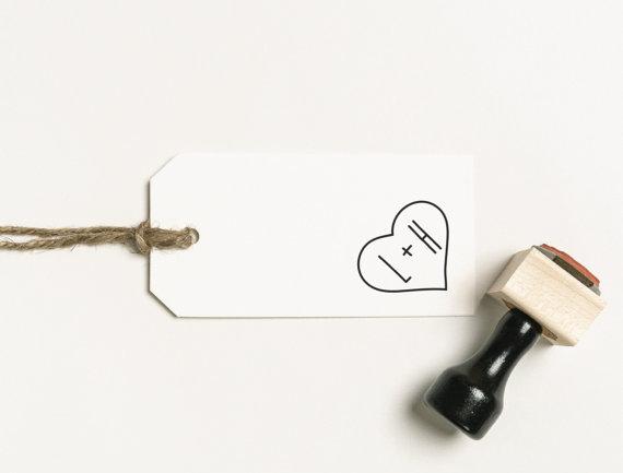 Custom persoanlized Monogram Heart Stamp