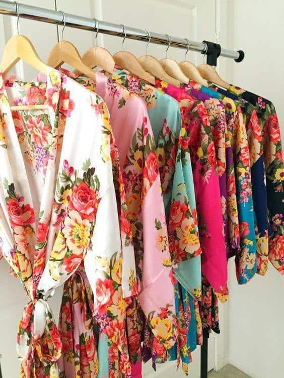 Floral Print Kimono Style Robe for bridesmaids