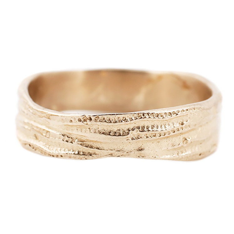 gold double urchin band designed by lauren wolf jewelry - Mens Unique Wedding Rings
