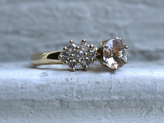 Gorgeous Vintage 14K Yellow Gold Morganite and Diamond Cluster Ring