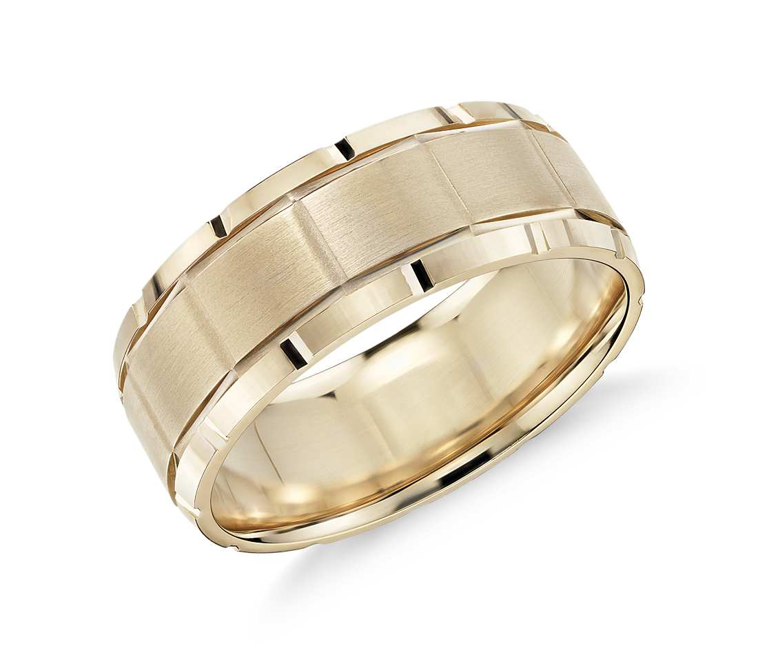 groove detail comfort fit wedding ring in 14k yellow gold by blue nile - Unique Mens Wedding Rings