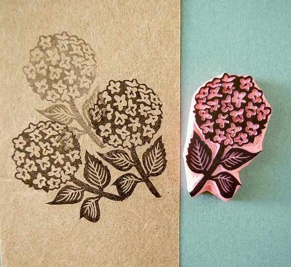 Hydrangea flower unmounted wedding rubber stamp