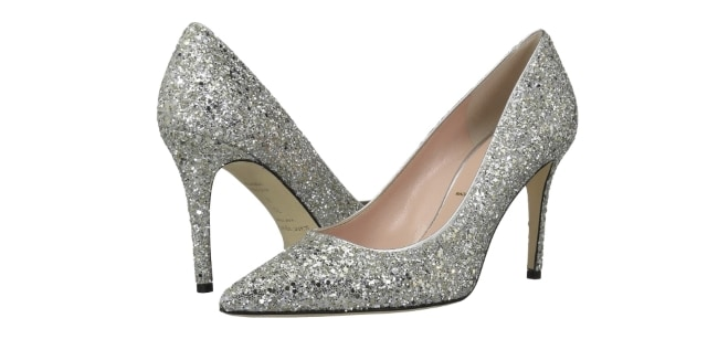 Kate Spade Pointed Glitter Bridal Heels