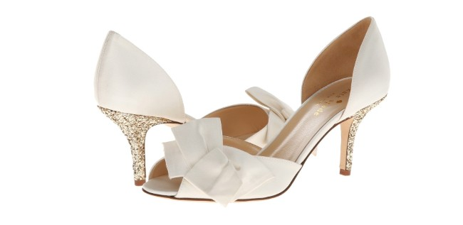 Kate Spade peep toe with gold glitter heel