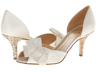 Kate spade Sala white bridal shoes with gold heels