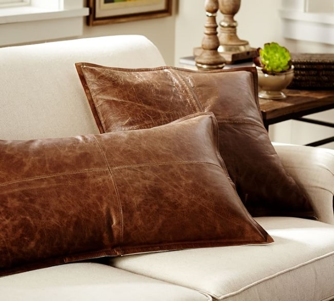 LEATHER PILLOW COVER 3rd leather anniverysary gift