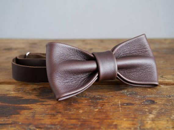 Leather Bow Tie for 3rd wedding anniversary gift