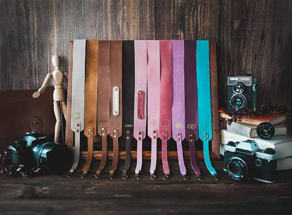 Leather camera strap for 3rd wedding annivery gift