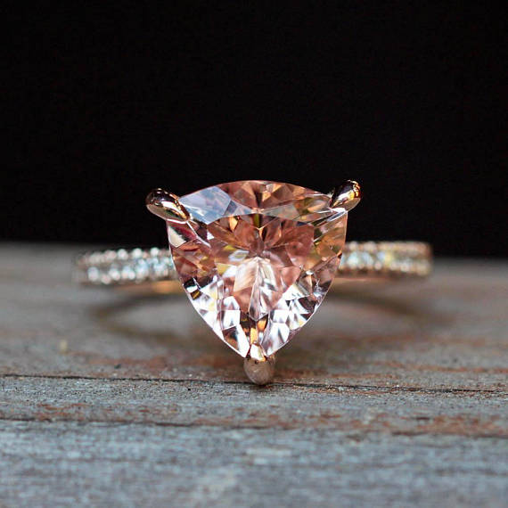 Morganite Ring Trillion Solitaire Beverly