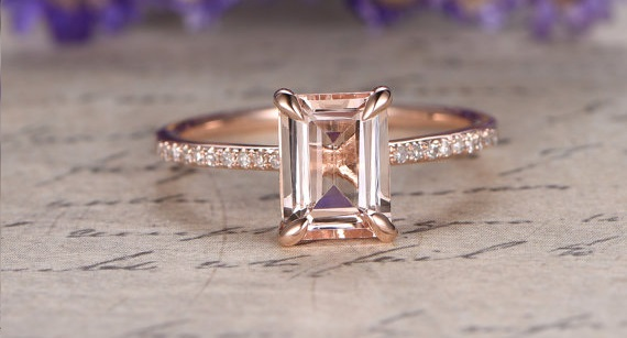 Morganite ring with diamonds and emerald cut gem