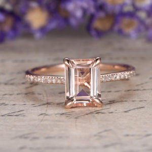 Morganite engagement ring with diamond,Solid 14k Rose gold bridal ring,stackable wedding ring 6x8mm Emerald cut gem