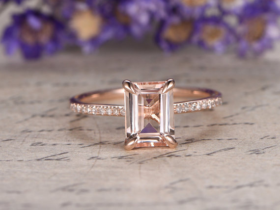 Morganite ring with solid 14k Rose gold Emerald cut gem