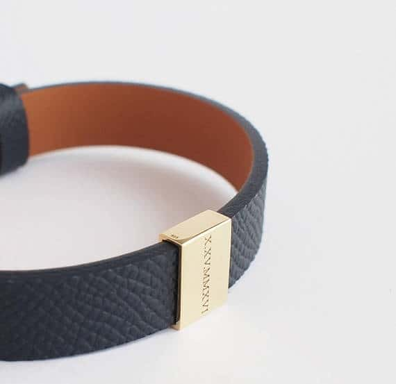 Personalized leather Bracelet for Him 3rd wedding anniversary gift