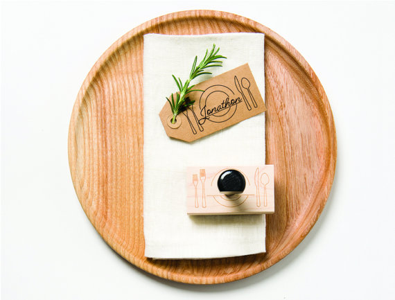 Place Setting Rubber Stamp