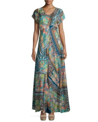 Roseton Short-Sleeve Printed Maxi Dress