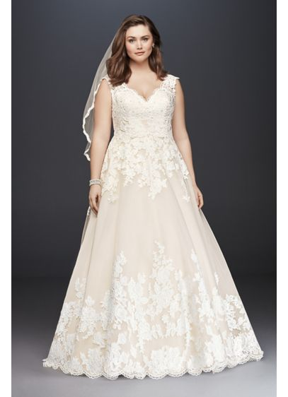 Scalloped Lace and Tulle Plus Size Wedding Dress by Davids Bridal