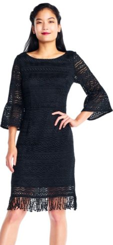 Sheath Dress with Sheer Three Quarter Bell Sleeves