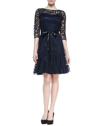 Sleeve Lace Overlay Cocktail Dress