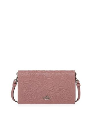 Tea Rose Embossed Crossbody Clutch Bag