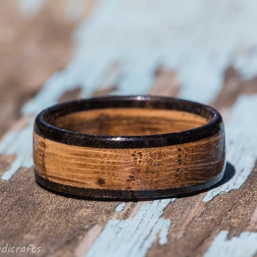 Tennessee Whiskey Barrel And Ebony Wood Wedding Band