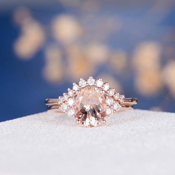 Unique Oval Cut Rose Gold Morganite Engagement Ring