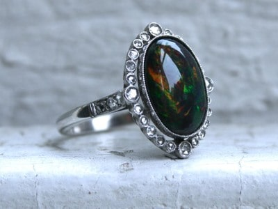 Vintage Black Opal and Diamond Halo ring