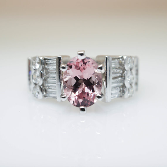Vintage Oval Morganite & Diamond Engagement Ring in 18k White Gold
