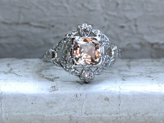 Vintage Platinum Diamond and Morganite Ring