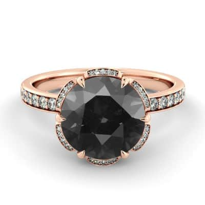 black diamond engagement ring Etsy