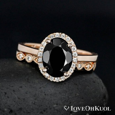 oval black tourmaline ring