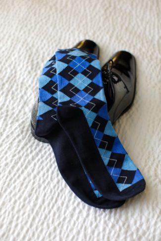 blue argyle socks for groom