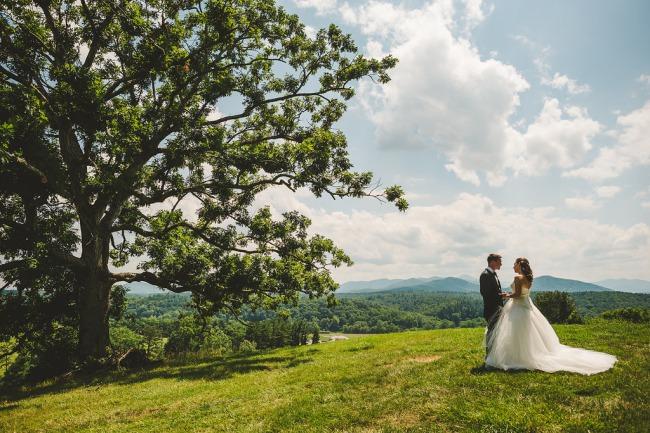 bridal couple on hillside