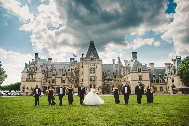 bridal party stand in front of Biltmore Hotel