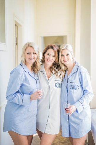 bride and bridesmaids in personalized shirts