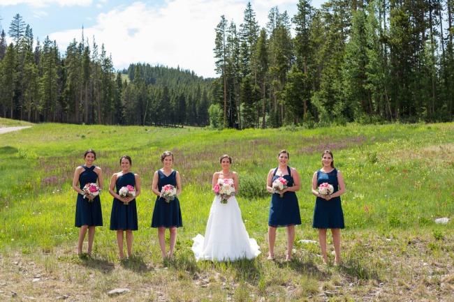 bridesmaids in Colorado field