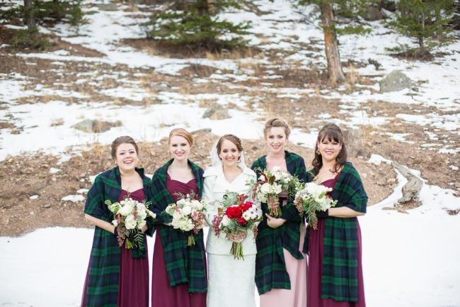 bridesmaids in green and blue tartan scarf