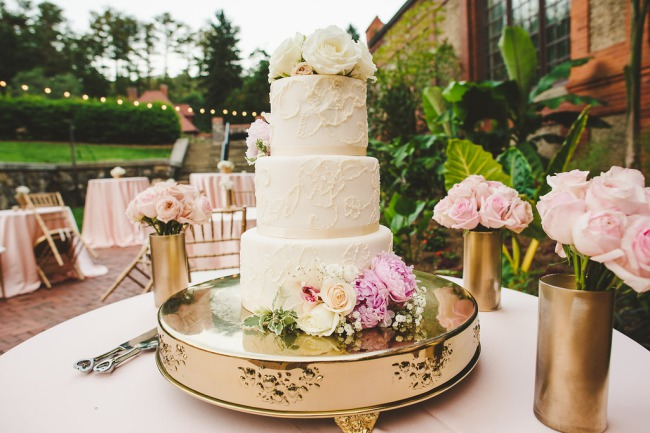 cake on gold cake platter