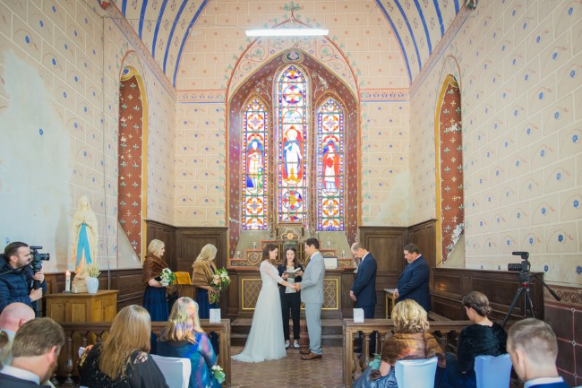 chapel ceremony at Chateau de Beaulieu