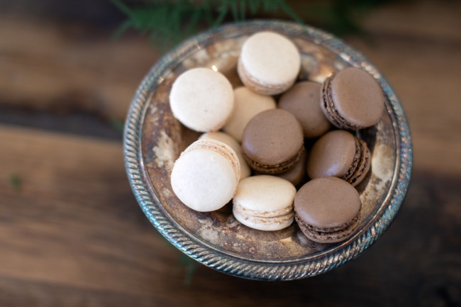 chocolate and white macaroons