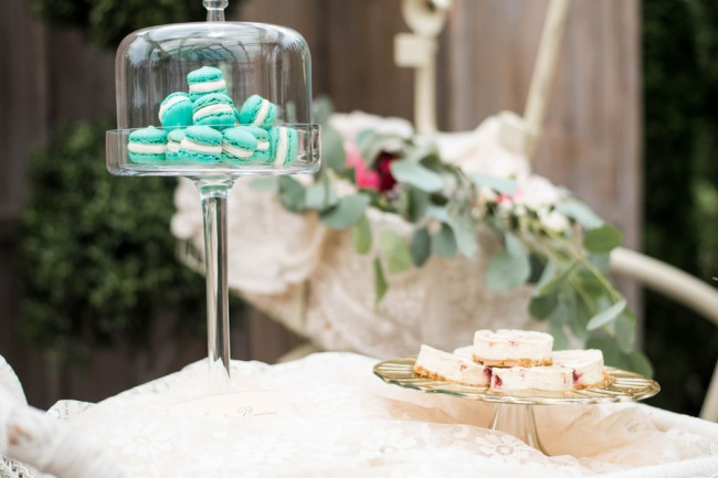 dessert table with robin egg blue macaroons