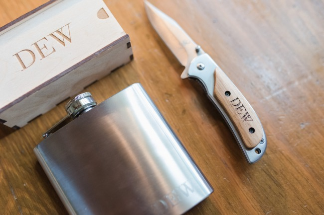 dew knife and groomsman gift flask