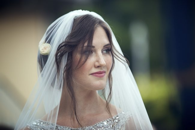 gorgeous bride under veil