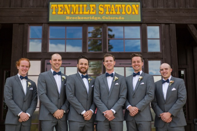 groomsmen lined up in front of Tenmile Station