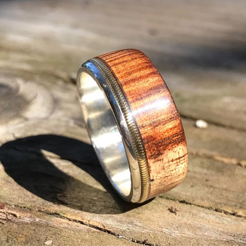Sterling Silver Ring With Bronze Acoustic Guitar String And Hand Carved Koa  Wood
