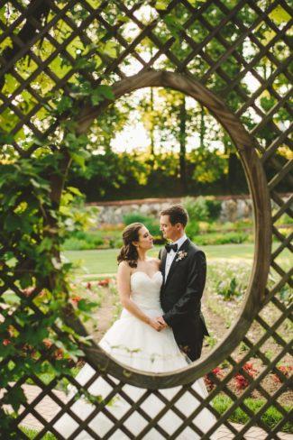 lattice work photo frame of newlyweds