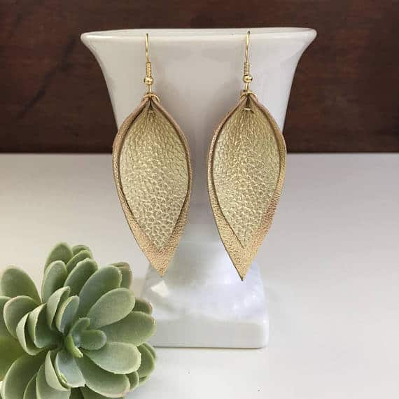 layered gold metallic leather leaf earrings for 3rd anniversary gift