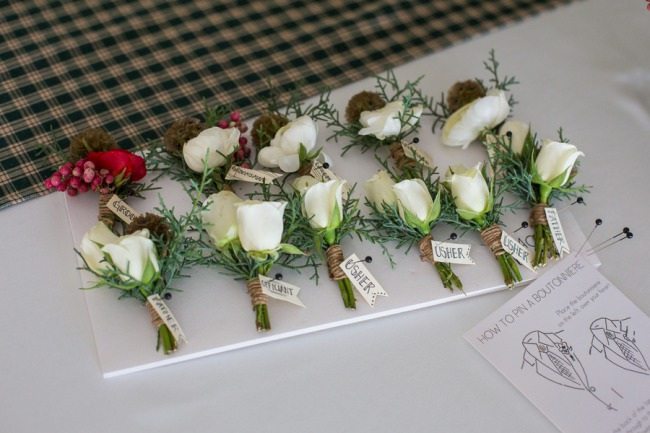 mini white rose boutonnieres