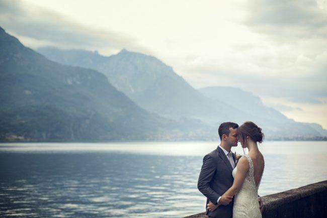 newlyweds overlook Lake Como
