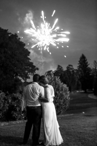 newlyweds watch fireworks